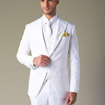 2018 Back Vent White One button Peak Lapel Groom Tuxedos Groomsmen best man suit Men Wedding Suits Bridegroom (Jacket+Pants+Vest+Tie)