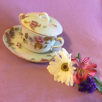 Porcelain Floral Teacup Saucer Set Japanese Garden Asian Style Covered Tea Coffee Cup Oriental Pink Roses Lidded 3 Piece Serving Set