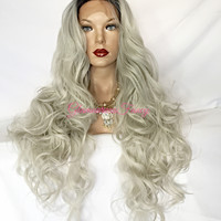 Silver gray Ombre Lace Front Wig 28 inch