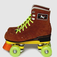 NEW Women Men's Outdoor Indoor Quad Roller Skates Boots Shoes Brown Lace-up Skating Shoes