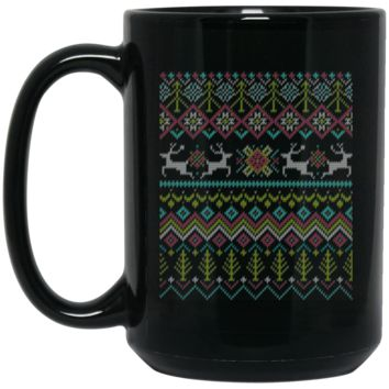 Dabbing Santa Claus Ugly Sweater Christma BM15OZ 15 oz. Black Mug