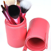 12pcs Pro Cosmetic Makeup Brush Set Leather Cup Holder Case kits Make up Tool JP