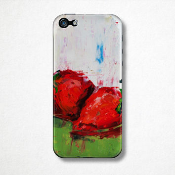 Strawberry Fruit Phone Case - iPhone Case - 4S - 5S - Samsung Galaxy - Plastic Hard Case - Oil Painting - Abstract Art