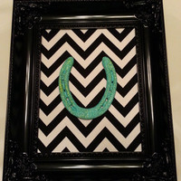 SALE-teal horseshoe-Black Ornate Framed Lucky Glittered Teal Horseshoe on Black & White Chevron Print-birthday gift, sweet 16 gift