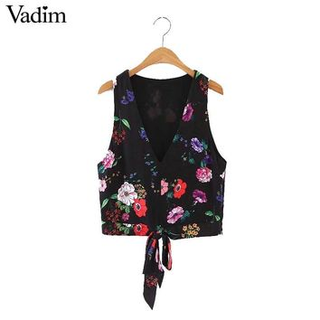 Vadim women sexy V neck floral crop top bow tie sleeveless vintage short blouses fashion shirts summer casual tops WT438