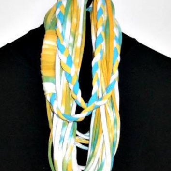 Upcycled, Cotton T Shirt, Infinity Scarf, Necklace, White, Yellow, Blue, Recycled, Scrap Scarf, Women and Teen Accessory, Repurposed T Shirt