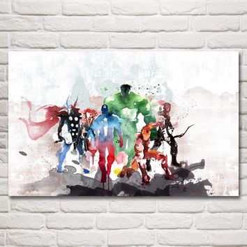 FOOCAME Hulk Captain America Iron Man Thor Hawkeye Black Widow The Avengers Movies Art Silk Posters Prints Home Decor Pictures