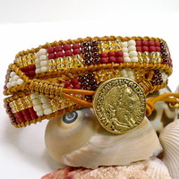 Triple Wrap Beaded Marigold Leather Greek BOHO Abstract Bracelet