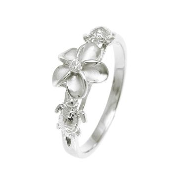 STERLING SILVER 925 HAWAIIAN PLUMERIA FLOWER 2 TURTLE RING RHODIUM SIZE 3-10