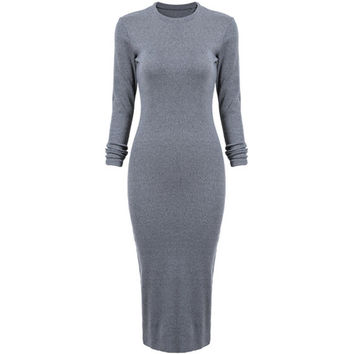 Women Long Sleeve Skinny Round Neck Back Split Slim Pencil Dresses Modest Formal Elegant Cotton Maxi