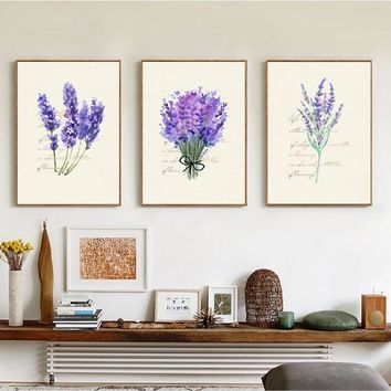 Nordic Lavender English Combina 3 Pieces Decorative Painting Modular Picture Wall Art Canvas Painting for Living Room No Framed