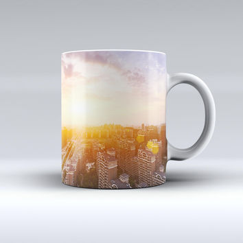 The Cityscape at Sunset ink-Fuzed Ceramic Coffee Mug