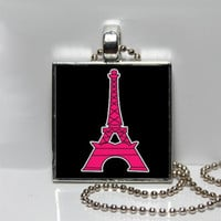 Pink Eiffel Tower with Black Background Hello Kitty Tile Square Pendant Paris Collection
