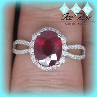 Cultured Ruby Engagement Ring 3.25ct Oval in 14k White