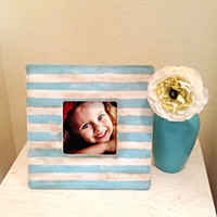 Stripe Patterned Picture Frame in Tiffany Blue & White