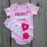 Heart Breaker Valentine Onesuit Outfit - Baby Girl- Funny Onesuit - Pink - Chevron - Headband - Leg Warmers - First Valentine's Day