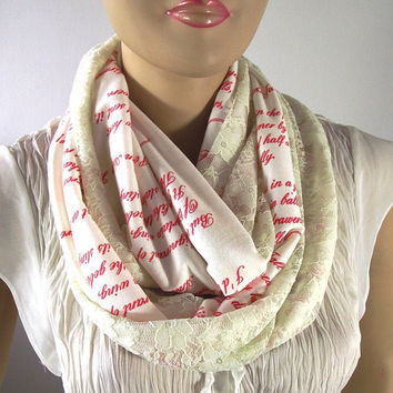 Love Poems Text and Lace Infinity Scarf Emily Dickinson Book Text Handprinted on Scarf Red Vintage look Lace Scarf