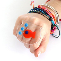 New Year Fashion Fused Glass Cocktail Ring  - big bold oversize handmade adjustable statement ring  - BLOWING BUBBLES - - 2.2 inch
