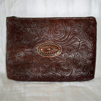 "Western Zipper Bag 7"" x 5"" with Copper Finish Concho"