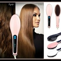 Auto Hair Straightener Comb LCD Iron Brush Electric Hair Massage