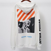 OFF-WHITE autumn new couple models Marilyn Monroe print plus velvet hoodie sweater white
