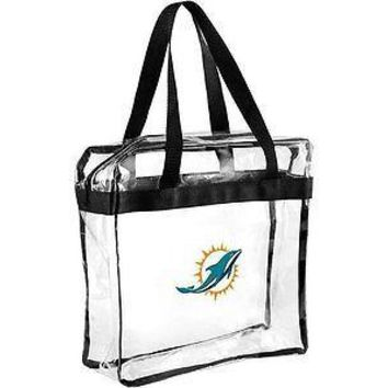NFL Miami Dolphins Clear Plastic Zipper Tote Bag NFL 2017 Stadium Approved