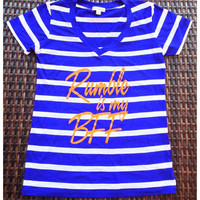 Rumble is my BFF loose fit/oversized striped V-neck tee | Royce Clothing