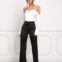 Off White Silky Cold Shoulder Cropped Blouse