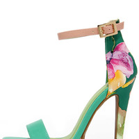 Miami Beach Sea Green Print Platform Sandals