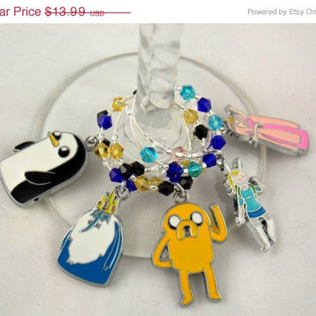 Adventure Time inspired wine glass charms set of 5 anime charms handmade wine charms party chibi JPOP wine charms