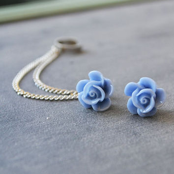 Periwinkle Blossom Double Silver Chain Ear Cuff (Pair)