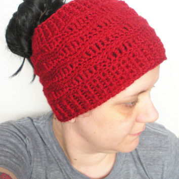 Extra Wide Crochet Headband Ear Warmer in Deep Blood Red, ready to ship. ( $28.00 )