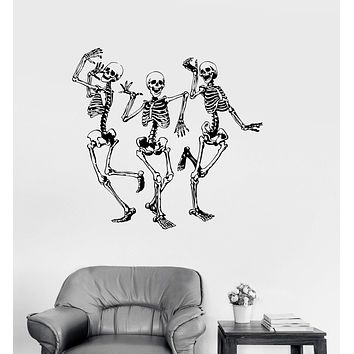 Vinyl Wall Decal Funny Dancing Skeletons Party Horror Halloween Stickers Unique Gift (982ig)