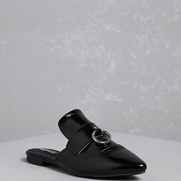 Faux Leather Loafer Mules