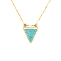 Turquoise Triangle 14K Gold Filled Necklace