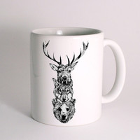 Deer, Wolf and Bear for Mug Design