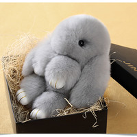 New Year Christmas Gift Rabbit Jewelry Accessories Key Chain Winter Warm Fur Rabbit Pendant [9647471119]
