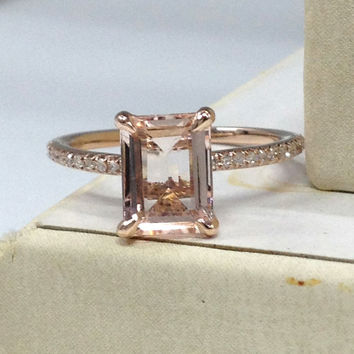 Morganite Engagement Ring 14K Rose Gold!Diamond Wedding Bridal Ring,Claw Prongs,6x8mm Emerald Cut Morganite,Custom made matching band