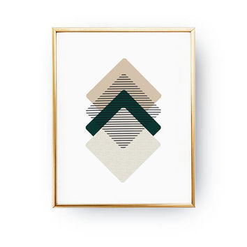 Green Beige Rhombus, Geometric Textures, Simple Decor, Square Print, Minimal Poster, Textured Watercolor, Abstract Wall Art, Modern Shapes