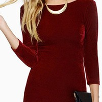 Maybe It's You Burgundy Wine 3/4 Sleeve Boat Neck Scoop Back Bodycon Mini Dress