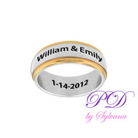 Wedding Band for Him Stainless Steel two tones band & Engraved Names and Date, Engagement Rings, Engraved Wedding Rings for Man, Mens Rings