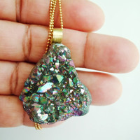 Rainbow Druzy Necklace - Raw Stone Necklace - Raw Crystal - Mineral Jewelry