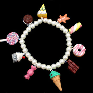 Sweet Food Charm Bracelet with White Pearls