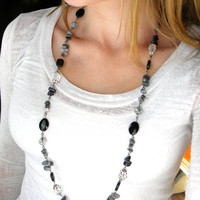 Long Beaded Necklace, Chunky Necklace, Necklace, Big Black Necklace, Long Black Necklace, Beaded Necklace, Chunky Black Necklace