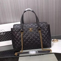 CHANEL WOMEN'S NEW STYLE LEATHER TOTE BAG CHAIN SHOULDER BAG