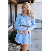 Need You Around Button Down Shirt Dress : Denim Blue