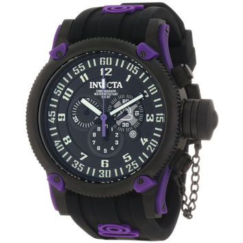 Invicta 10184 Men's Russian Diver Black Ion Plated Steel Black Dial Purple Accents Black Rubber Strap Chronograph Watch