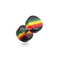 A Pair of Jamaican Rasta Stripe Acrylic Fake Gauge Plug Earring
