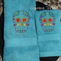 Sugar Skull Day Of The Dead Embroidered Hand Towel and Washcloth