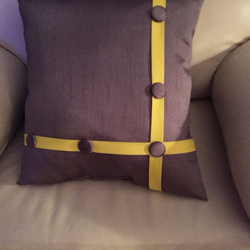 """Gray and Yellow Buttoned Pillow (Buy TWO Get A 12"""" x17"""" Free)"""